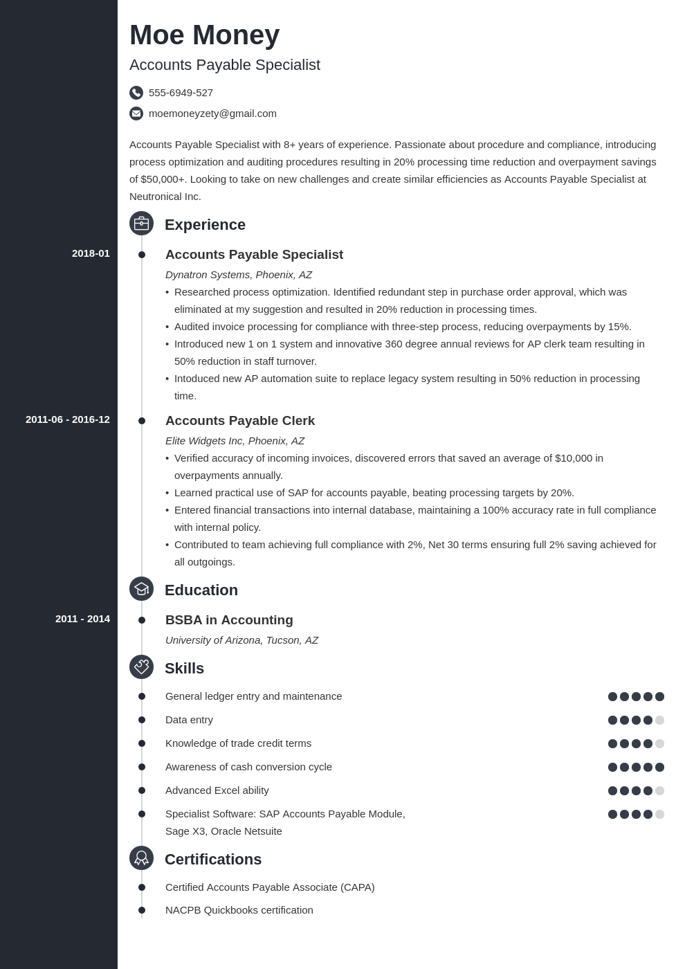 accounts payable resume example template concept