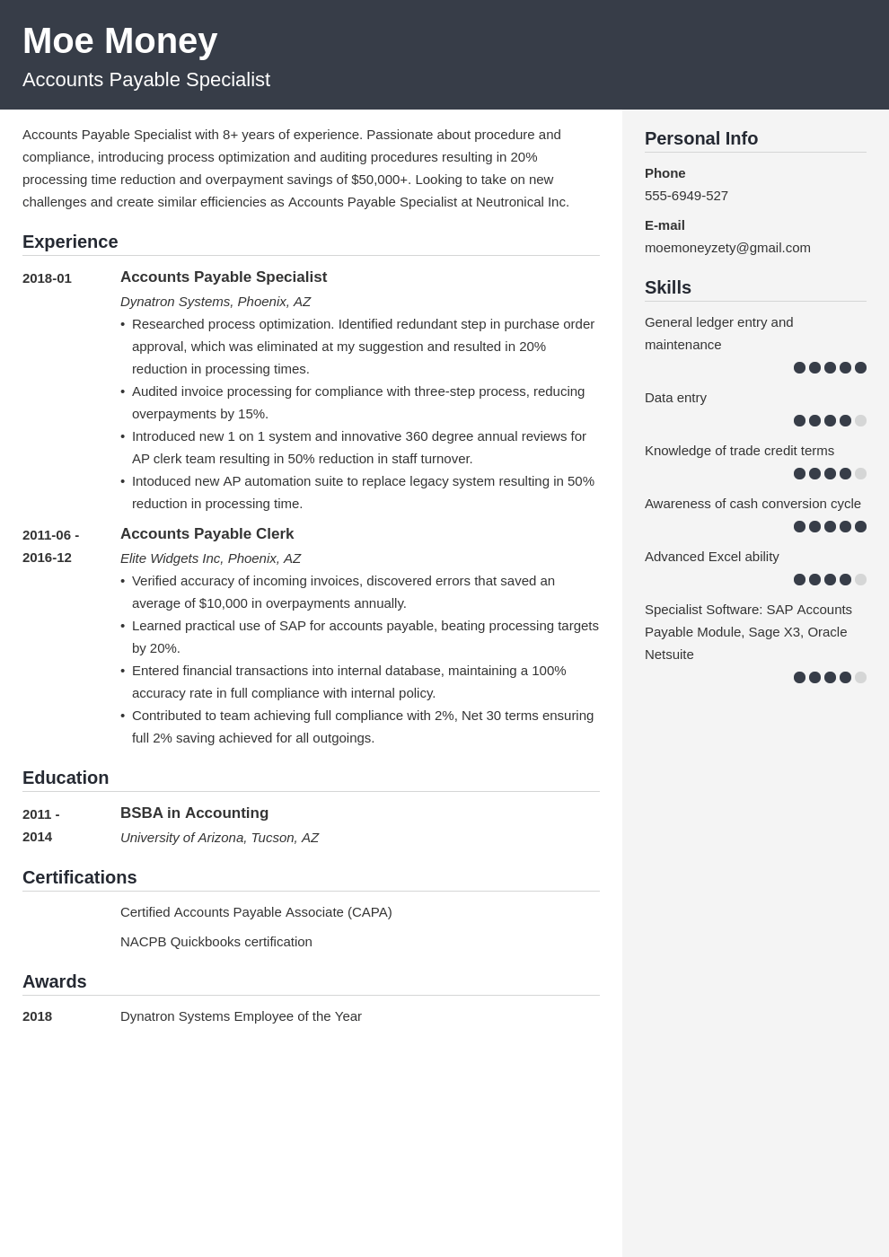 accounts payable resume example template cubic
