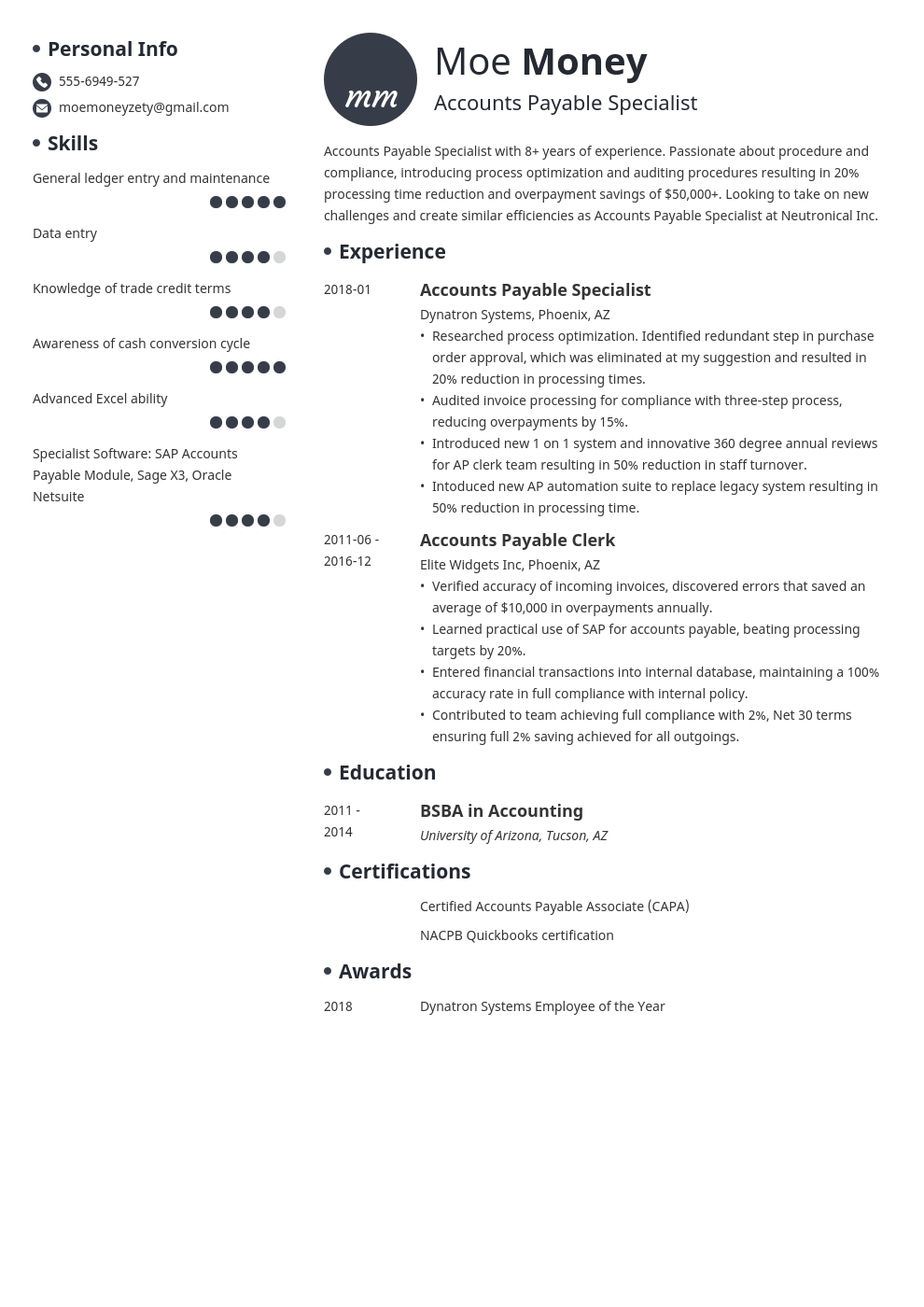 accounts payable resume example template initials