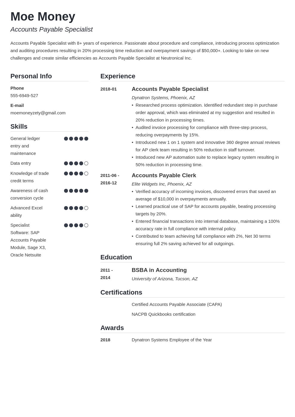 accounts payable resume example template simple