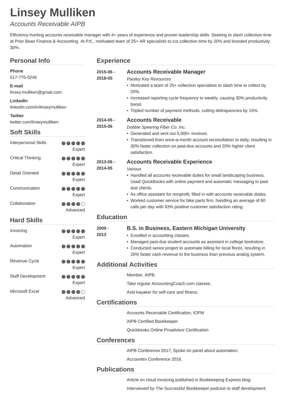 Accounts Payable Receivable Resume Samples 20 Ap Ar Examples