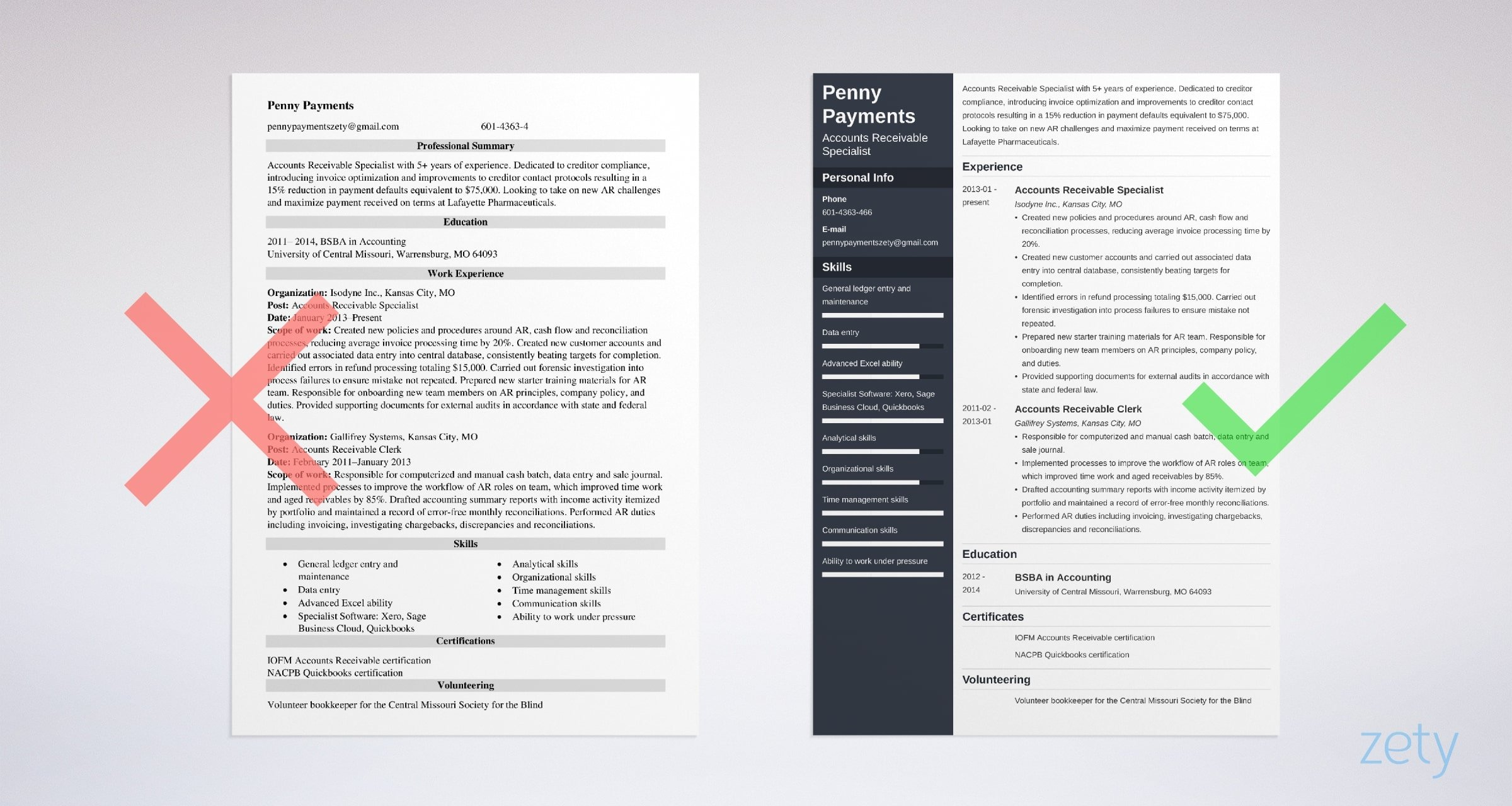accounts receivable resume templates