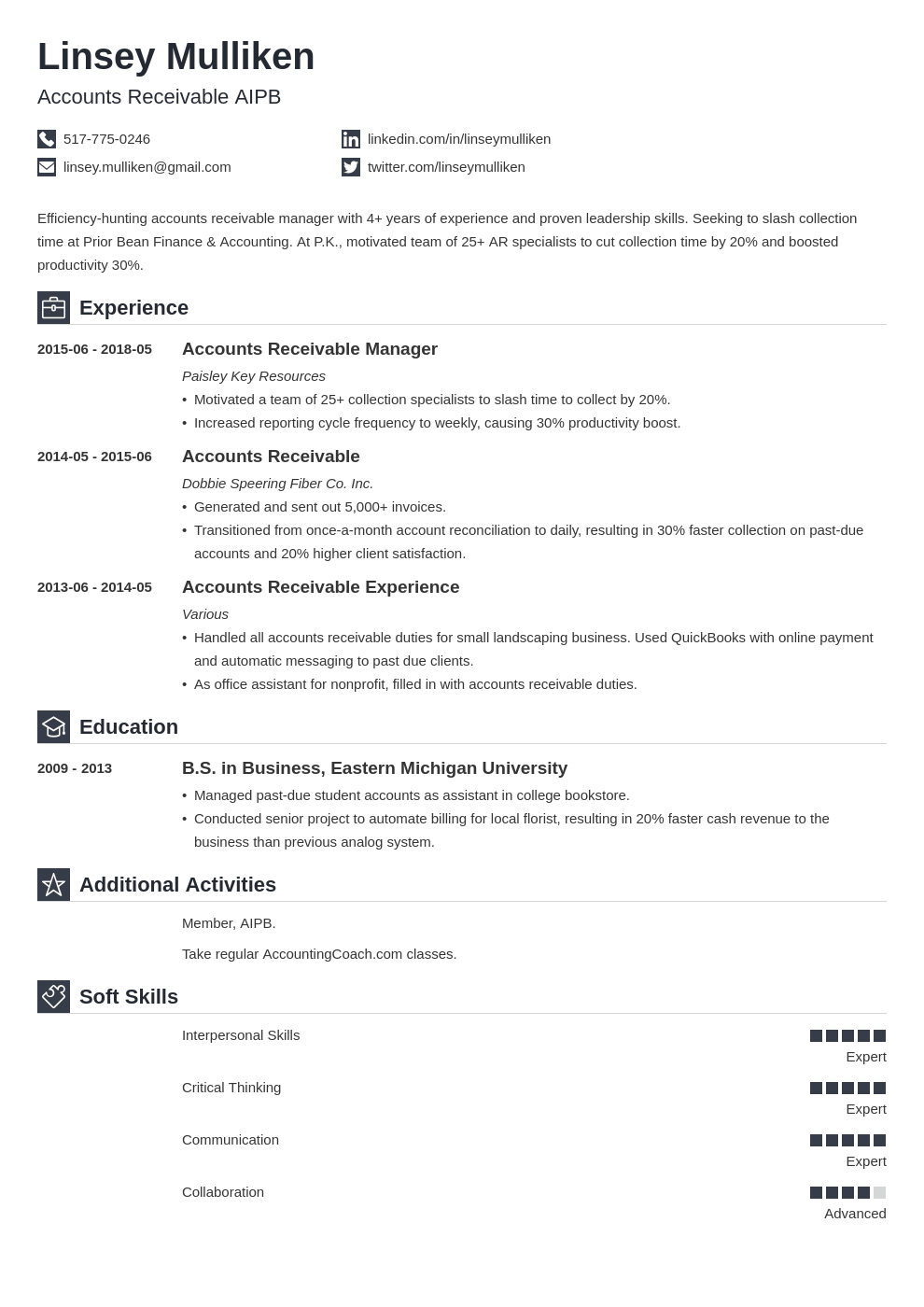 accounts receivable resume example template iconic