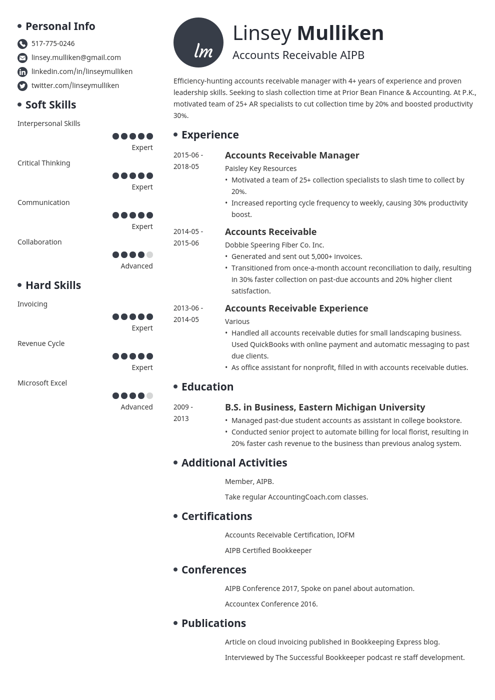 accounts receivable resume example template initials