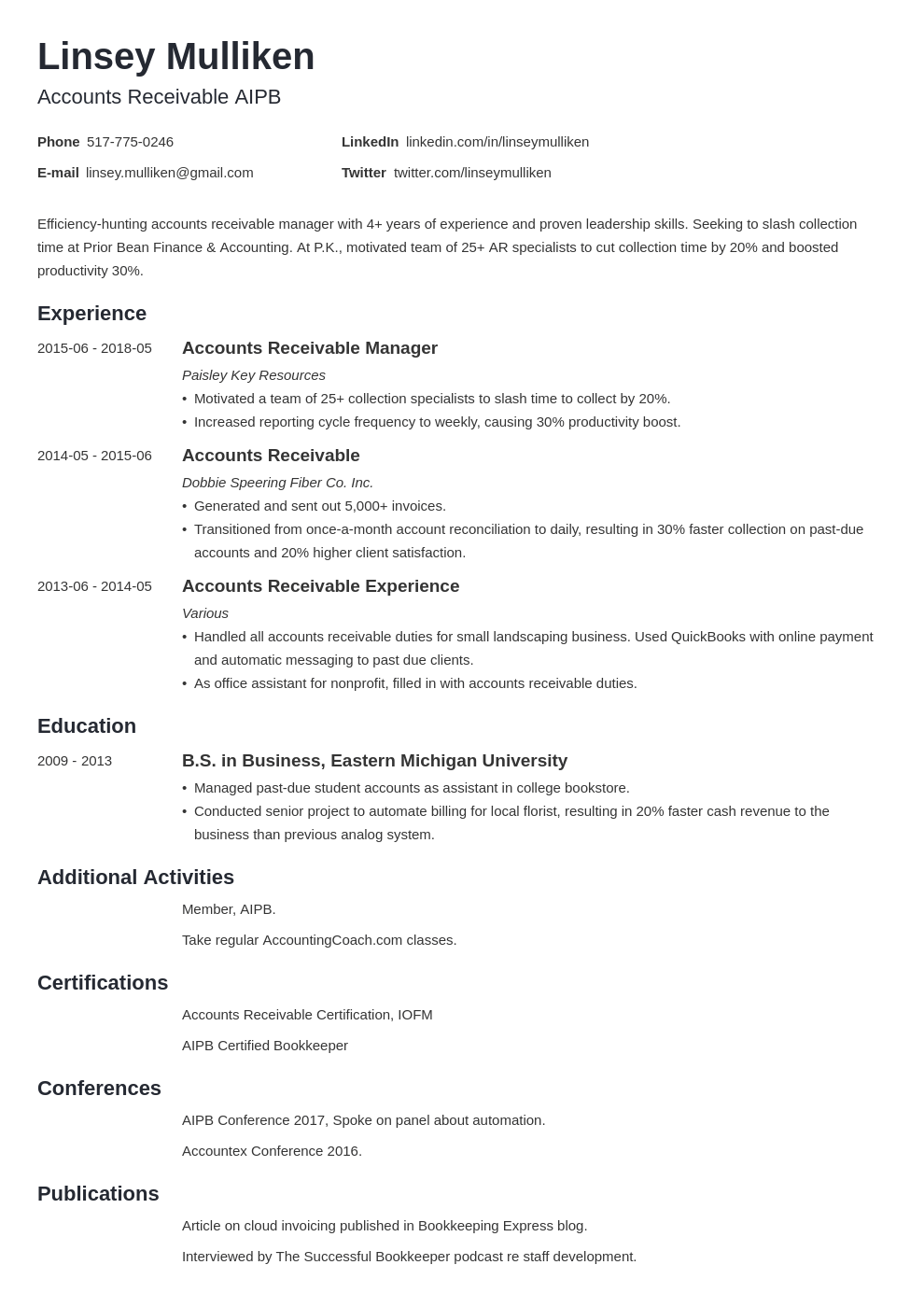 accounts receivable resume example template minimo