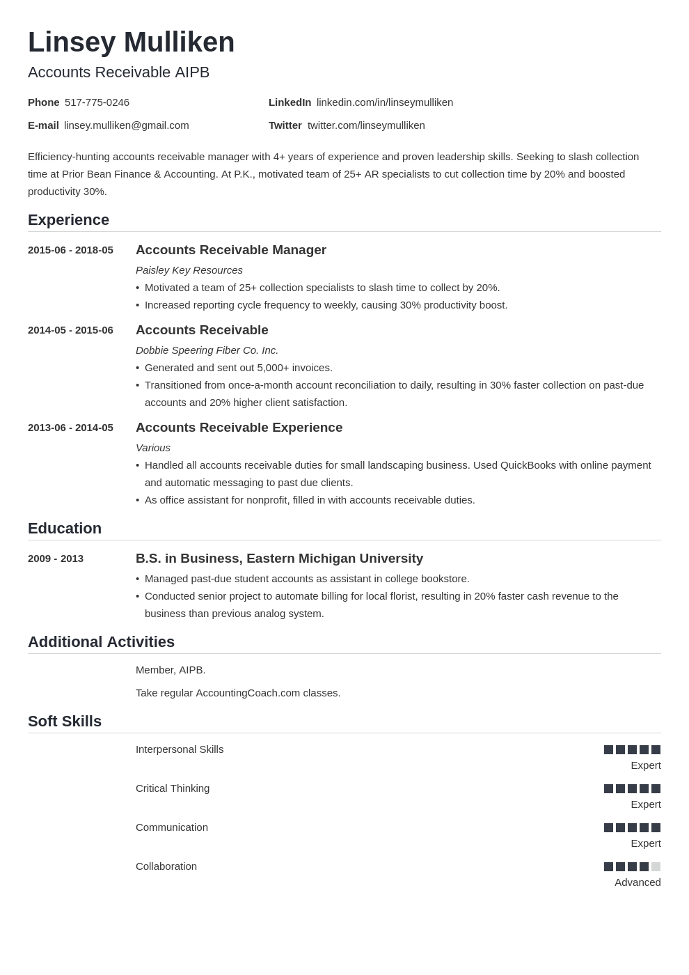 accounts receivable resume example template nanica