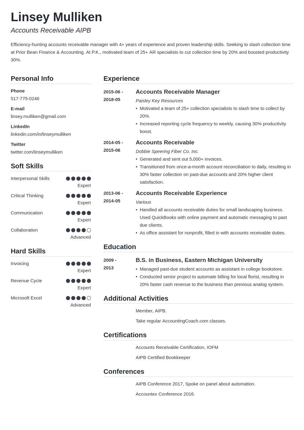 accounts receivable resume example template simple