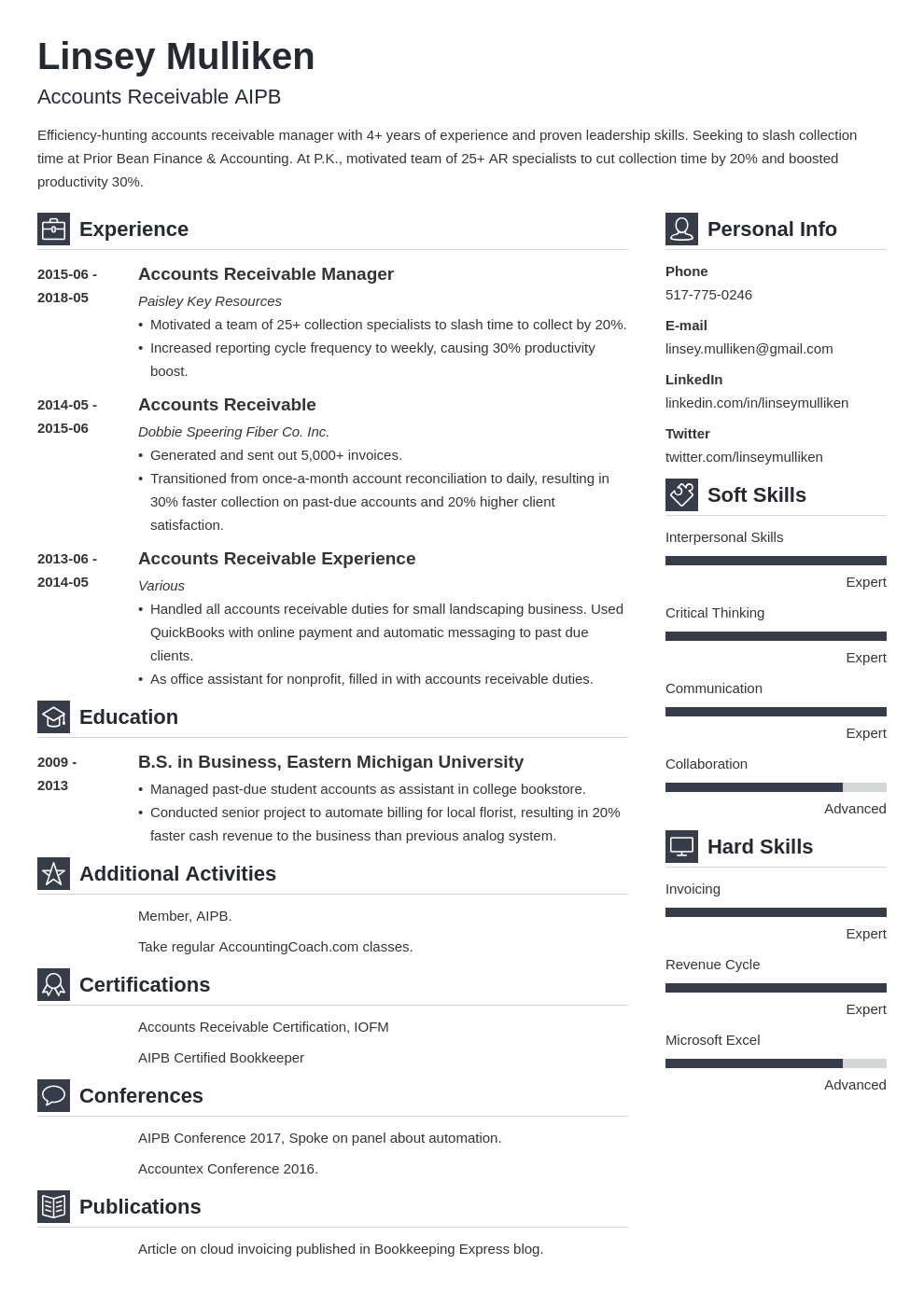 accounts receivable resume example template vibes