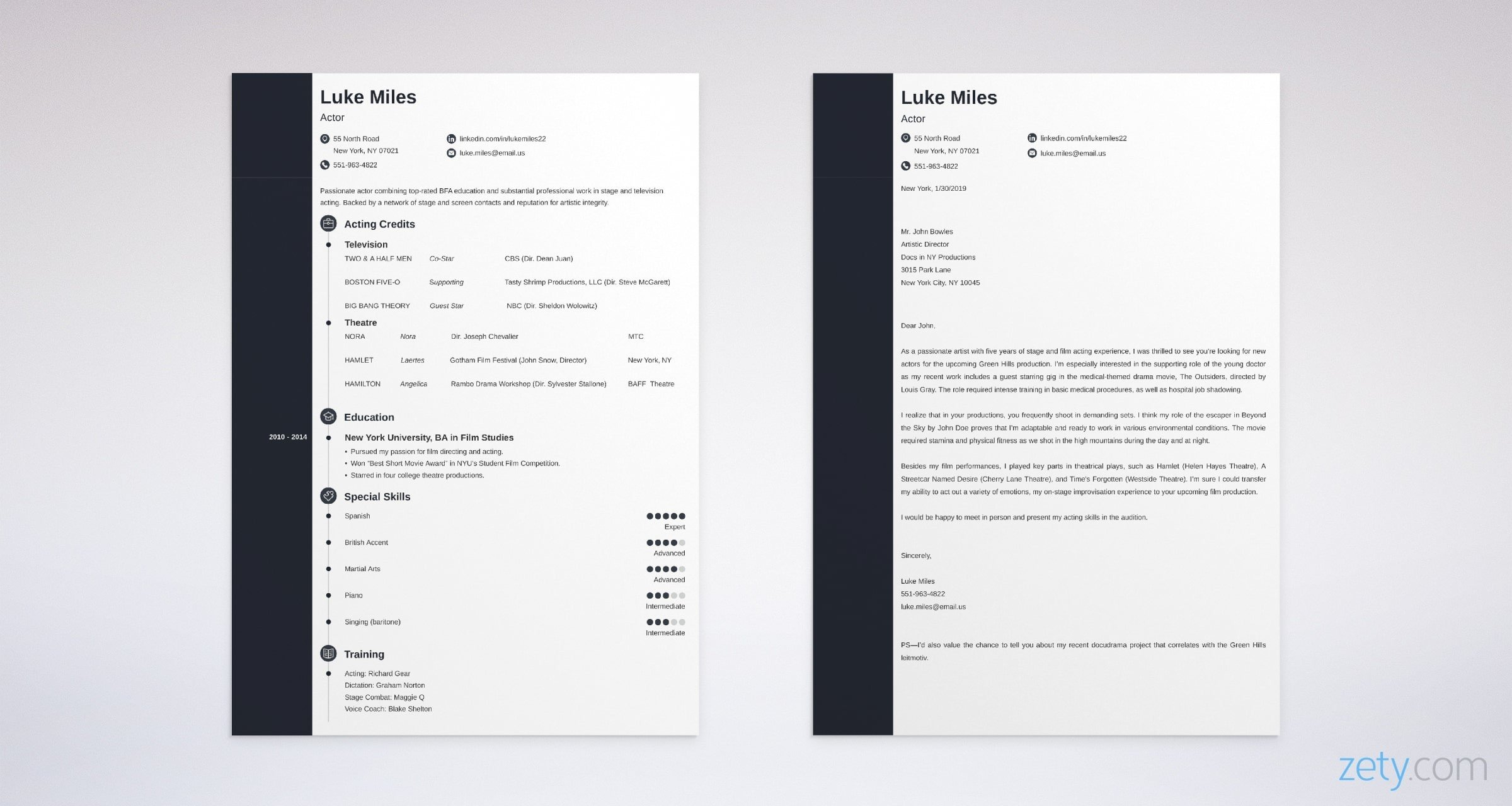 Acting Cover Letter Samples Proper Format Writing Guide