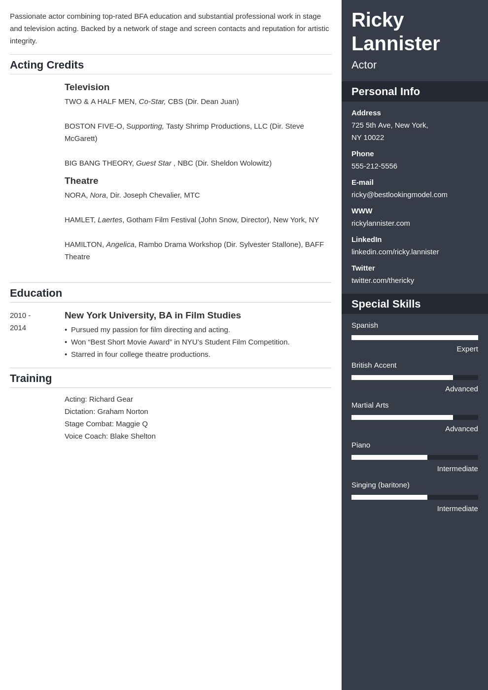 acting resume example template enfold