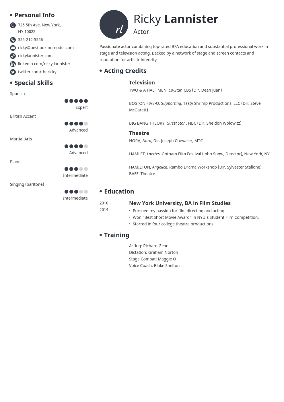 acting resume example template initials