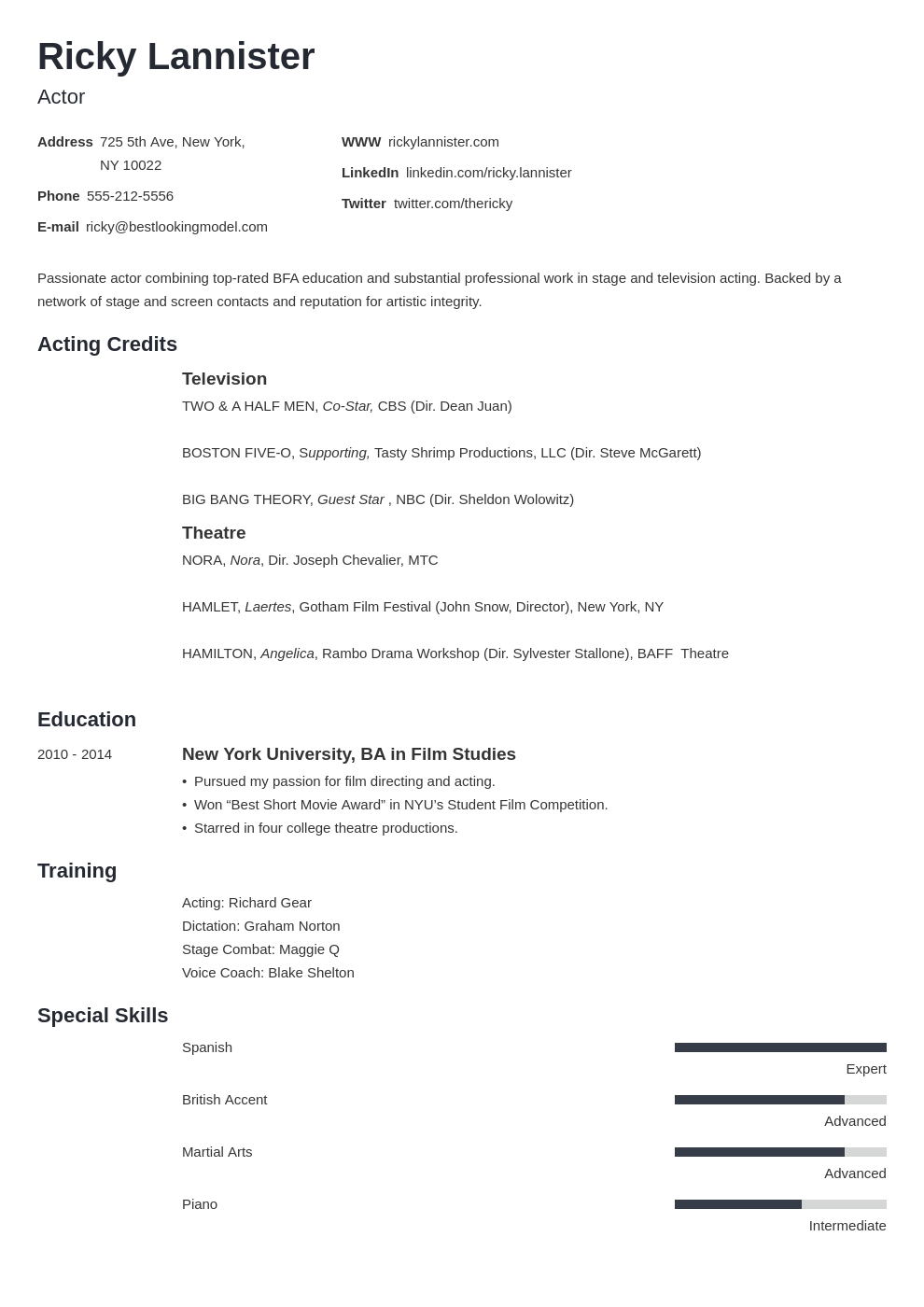 acting resume example template minimo