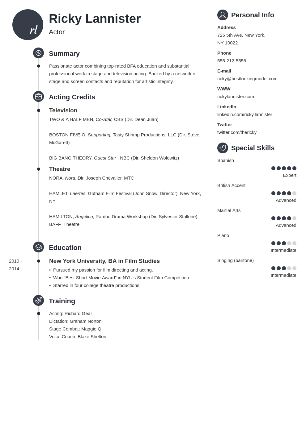 acting resume example template primo