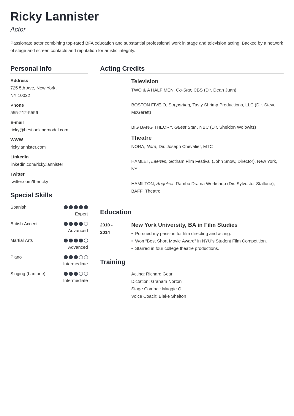 acting resume example template simple