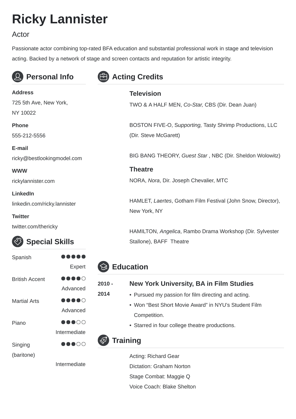 Acting Resume Template Sample Actor Resume Advice 20 Tips
