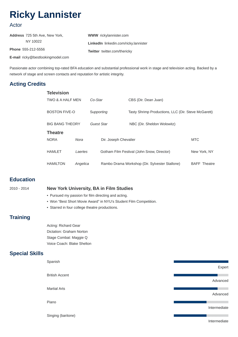 Acting Resume Template Sample Actor Advice 20 Tips
