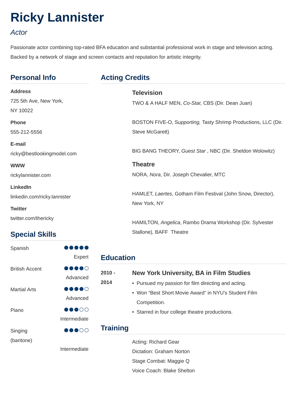 Acting Resume: Template, Sample & Actor Resume Advice [20+ Tips]