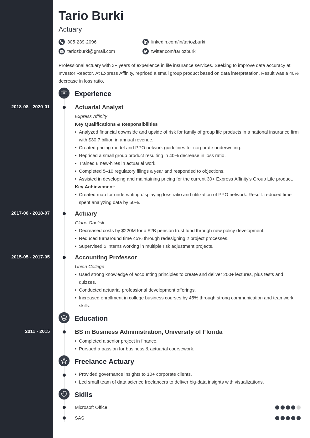 actuary resume example template concept