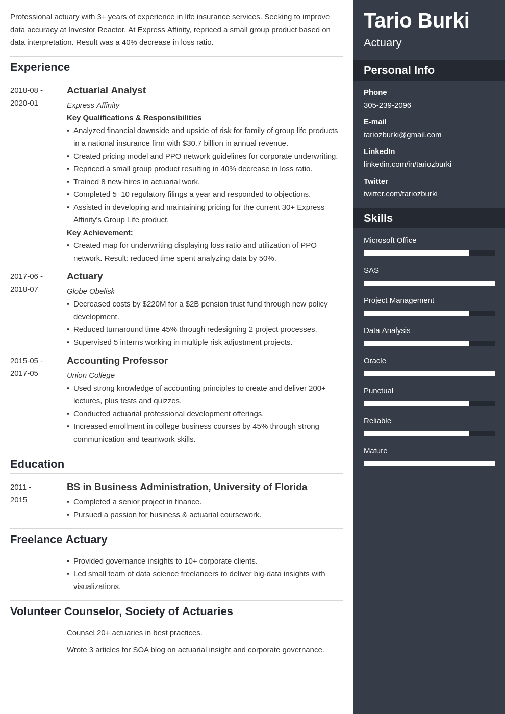 actuary resume example template enfold