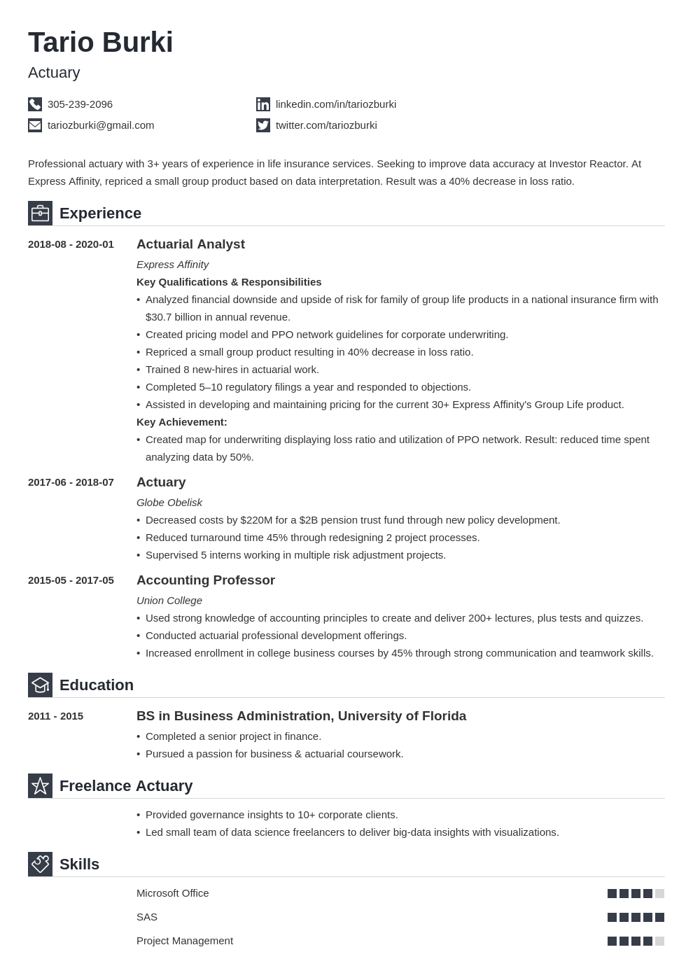 actuary resume example template iconic