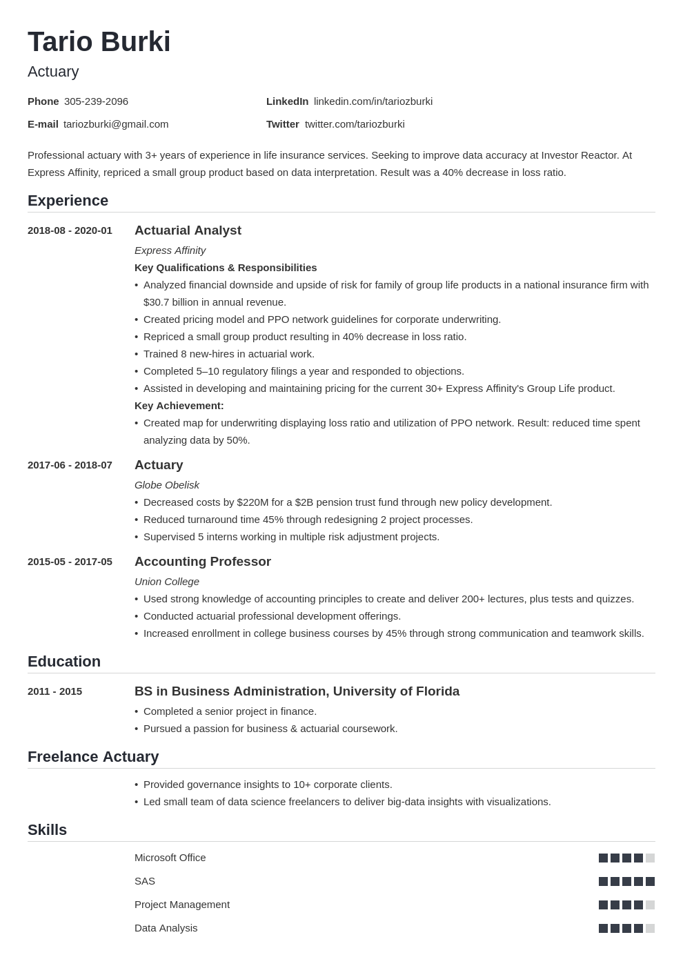 actuary resume example template nanica