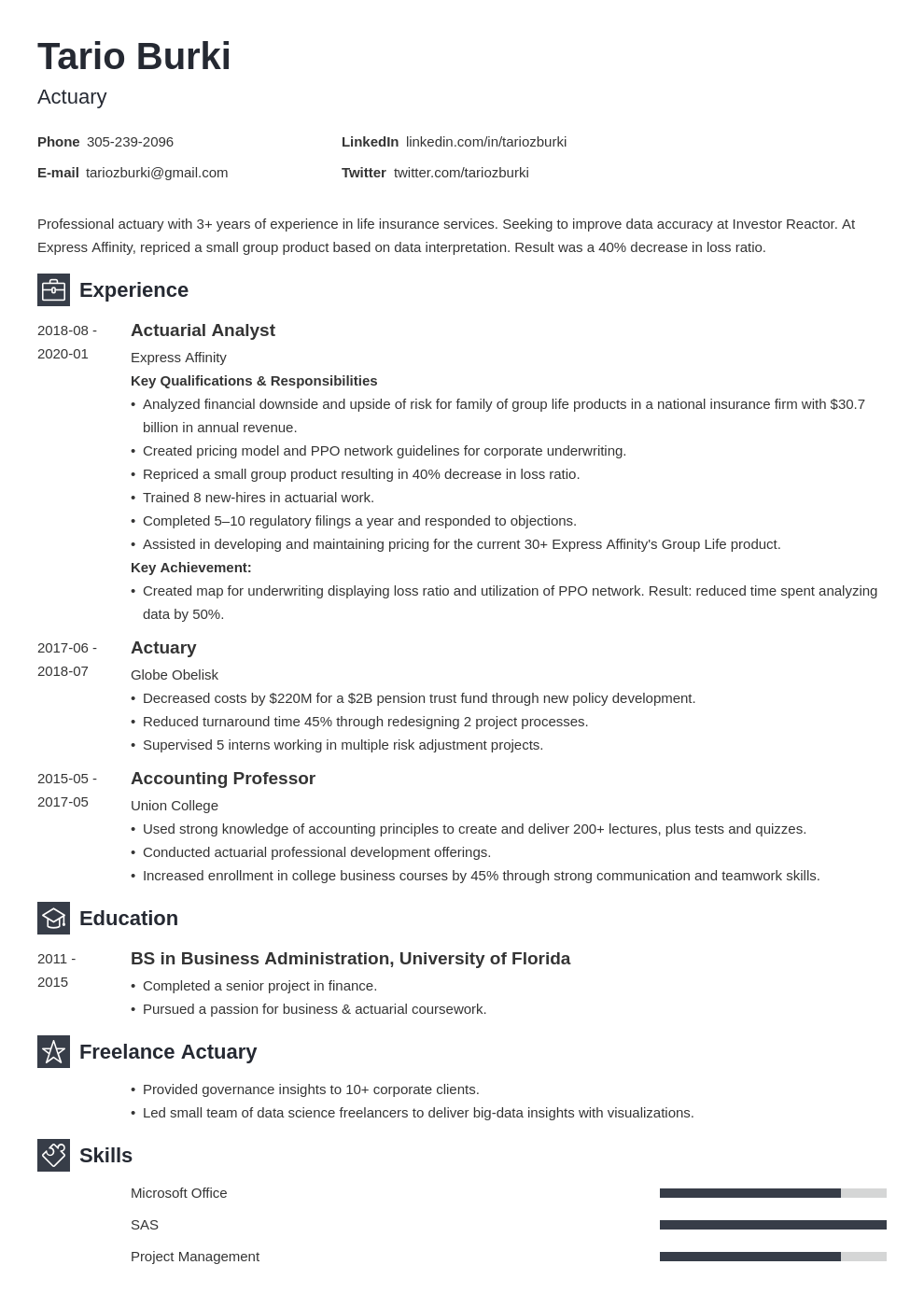 actuary resume example template newcast