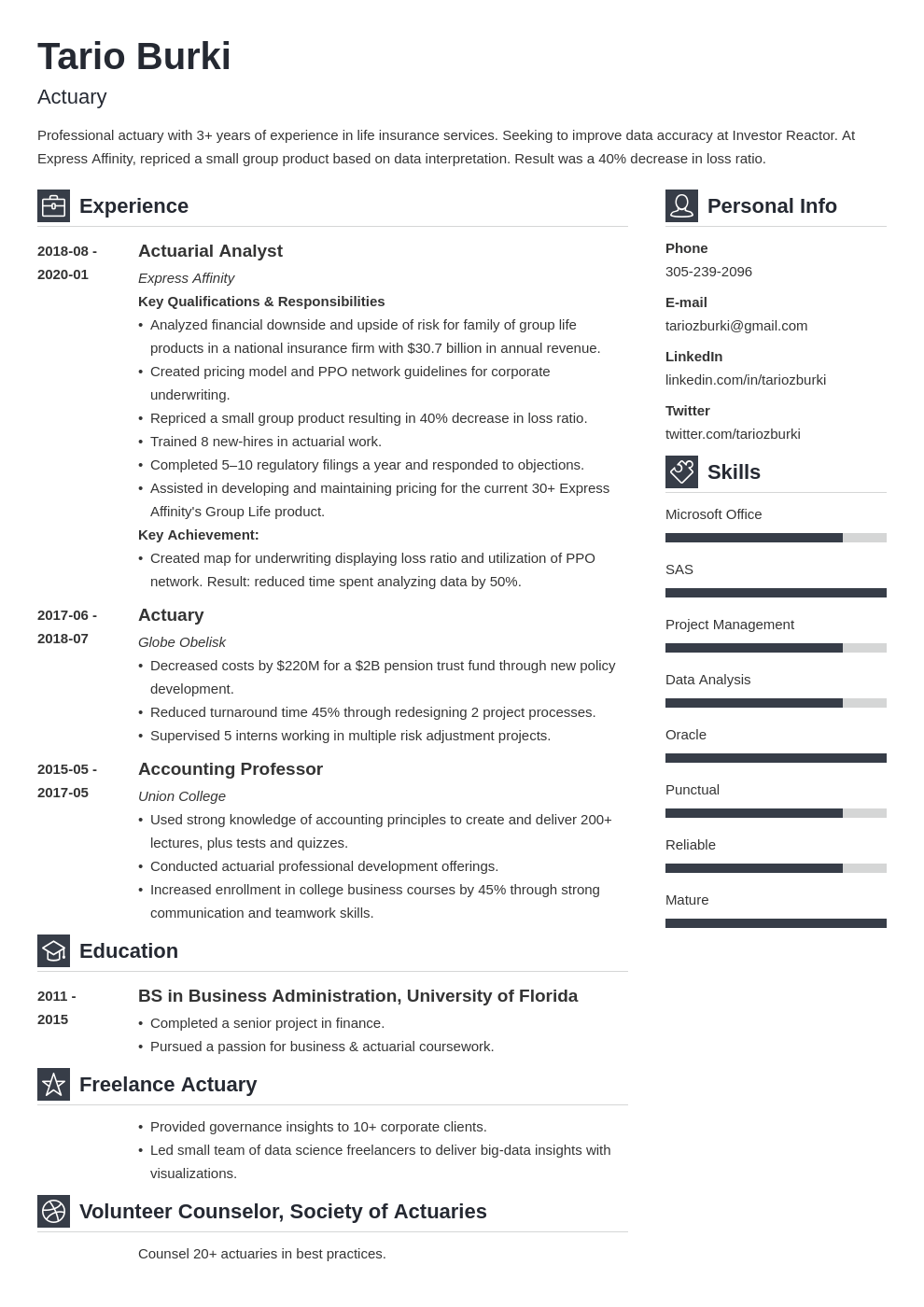 actuary resume example template vibes