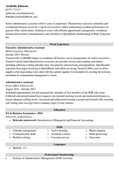 administrative assistant cv example