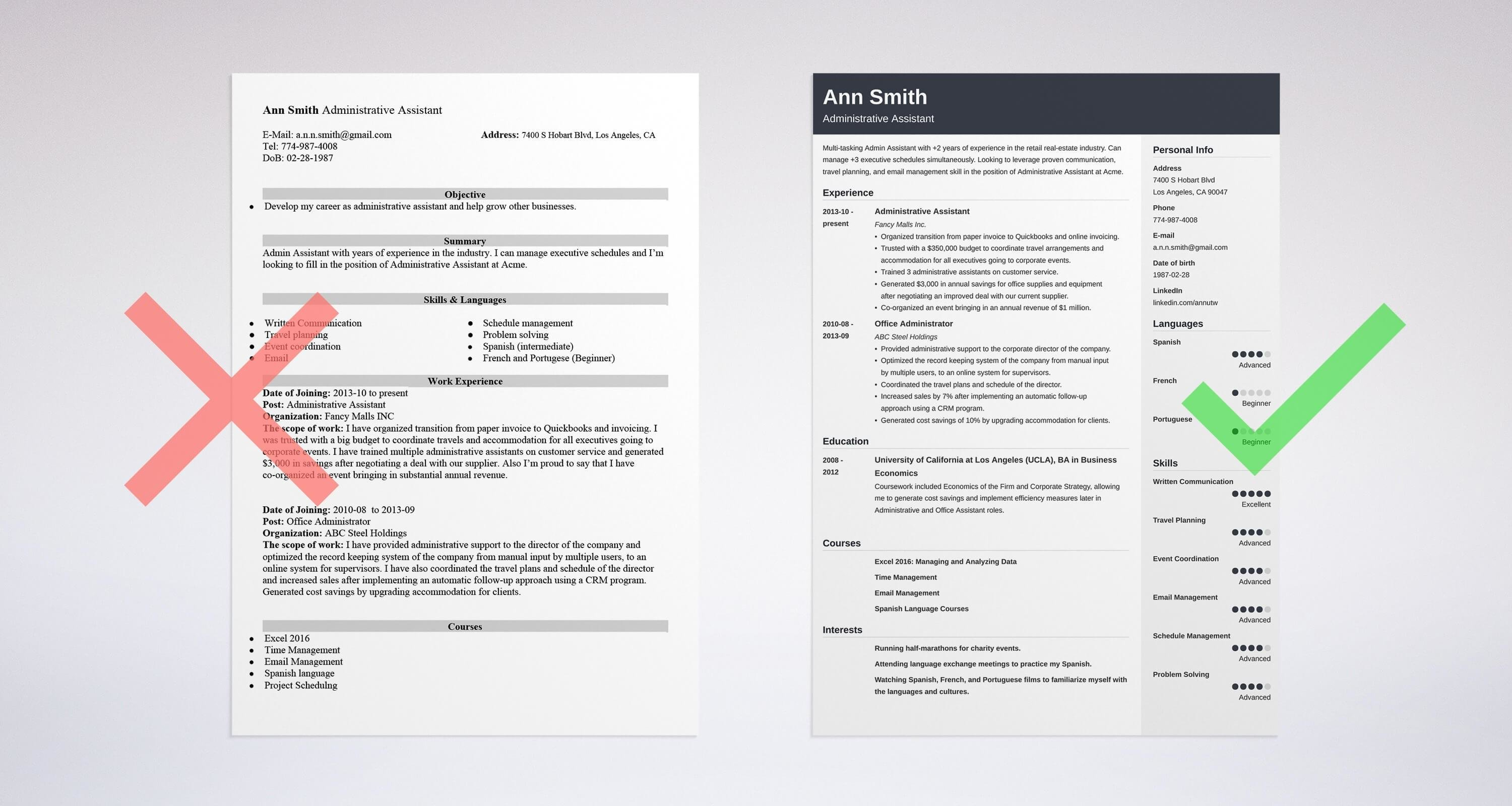 Two Administrative Assistant Resume Examples
