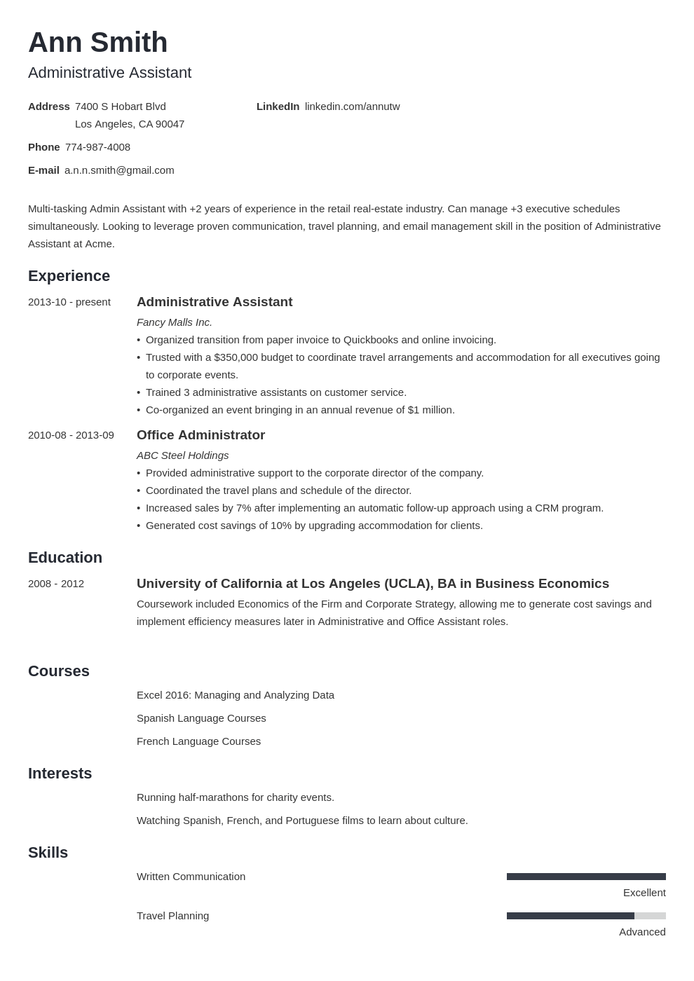 Best Administrative Assistant Resume Examples Sample Skills Tips