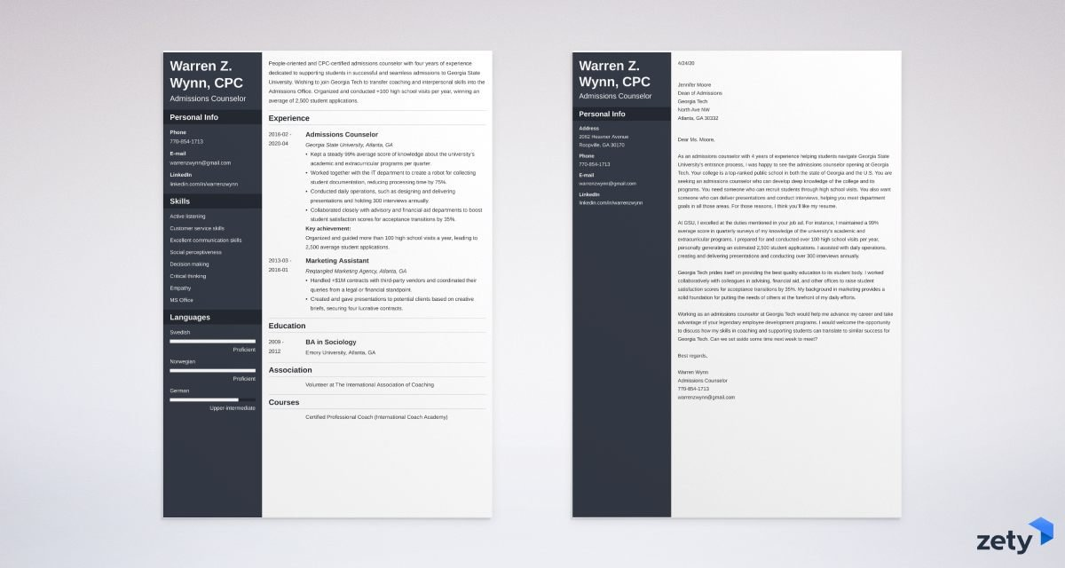 admissions counselor resume and cover letter set