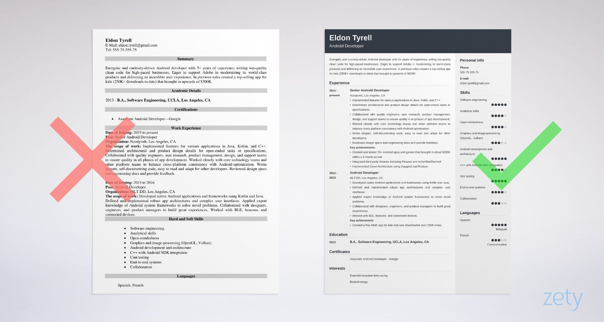 android developer resume templates