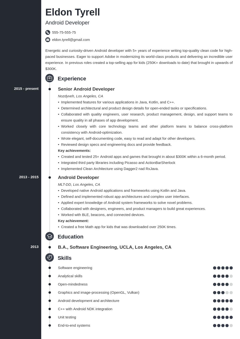 android resume developer example template concept