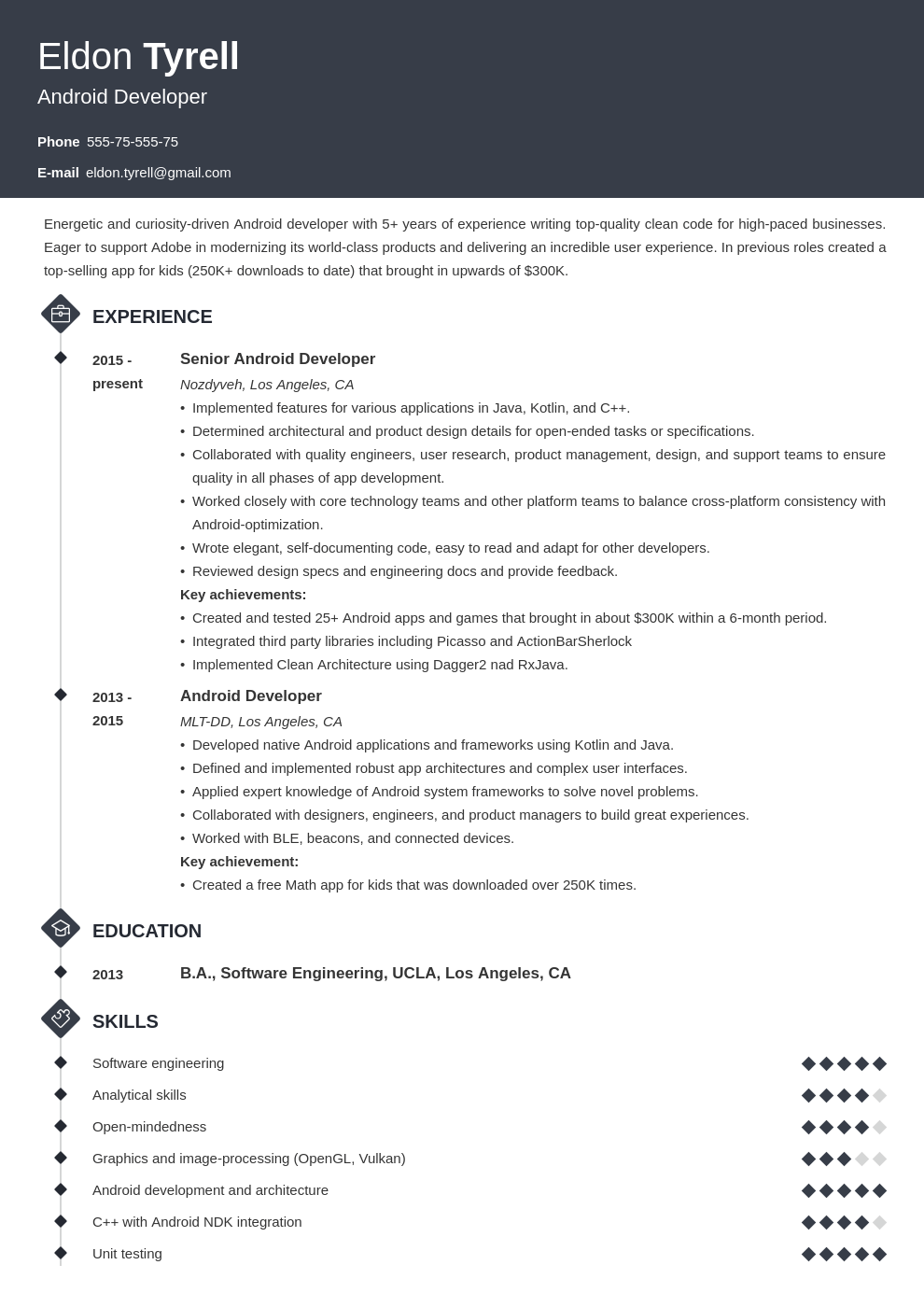 android resume developer example template diamond