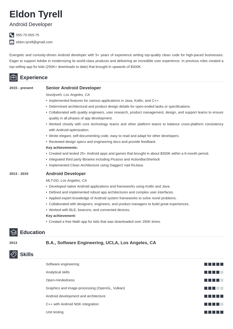 android resume developer example template iconic