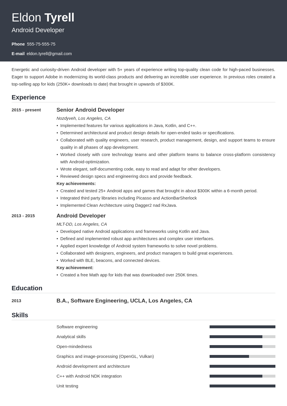 android resume developer example template influx