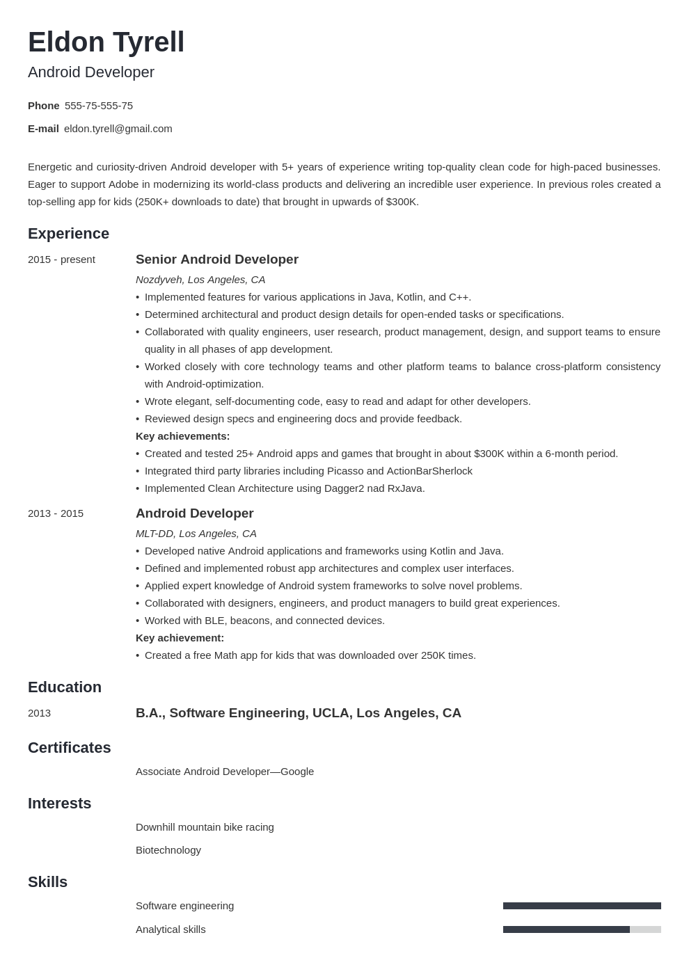 android resume developer example template minimo
