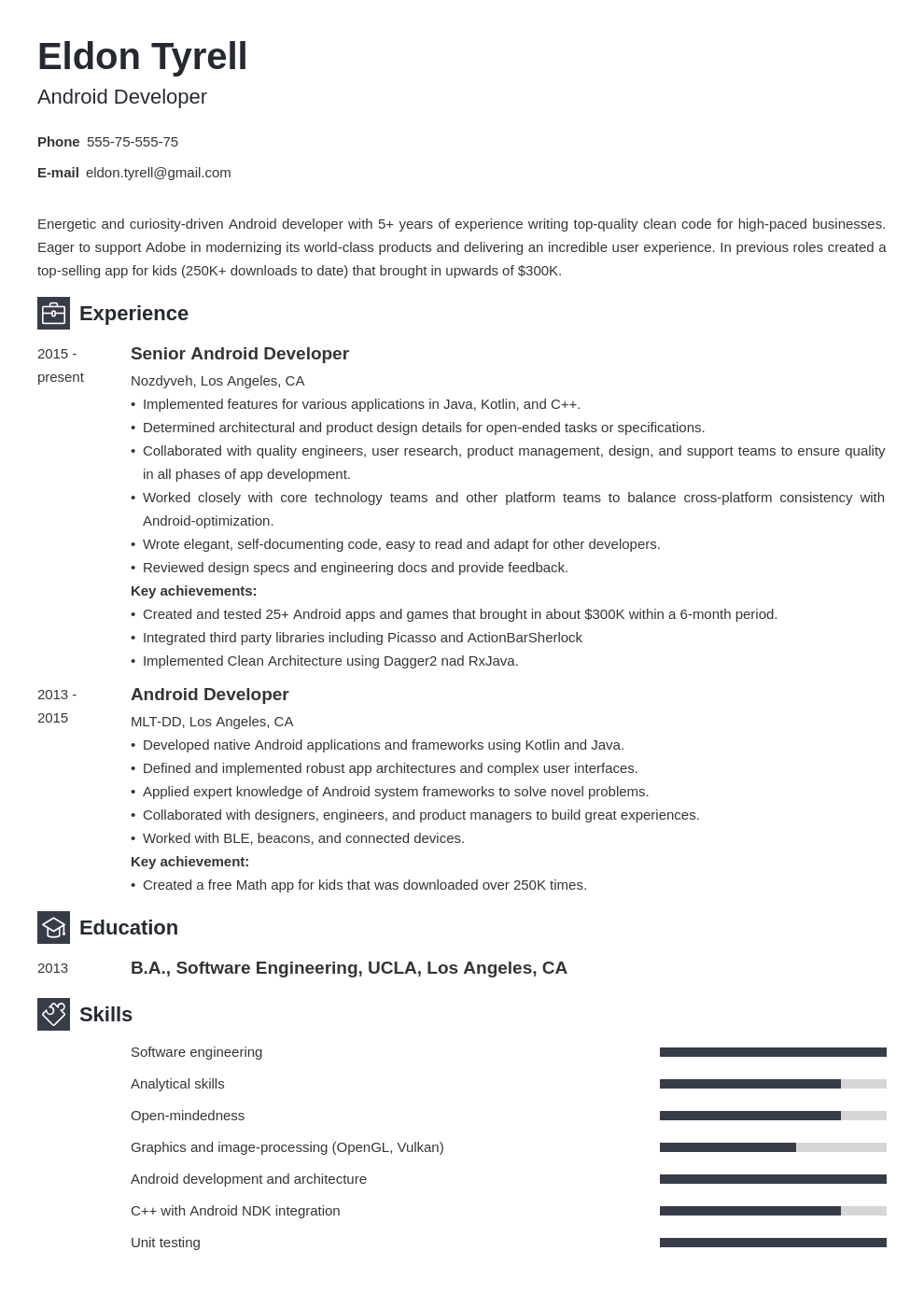 android resume developer example template newcast