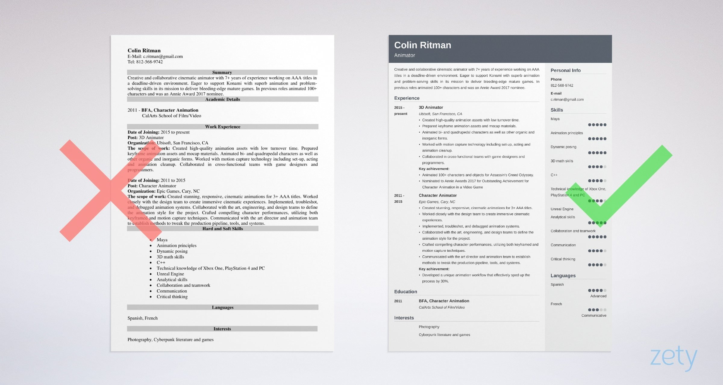 animator resume templates