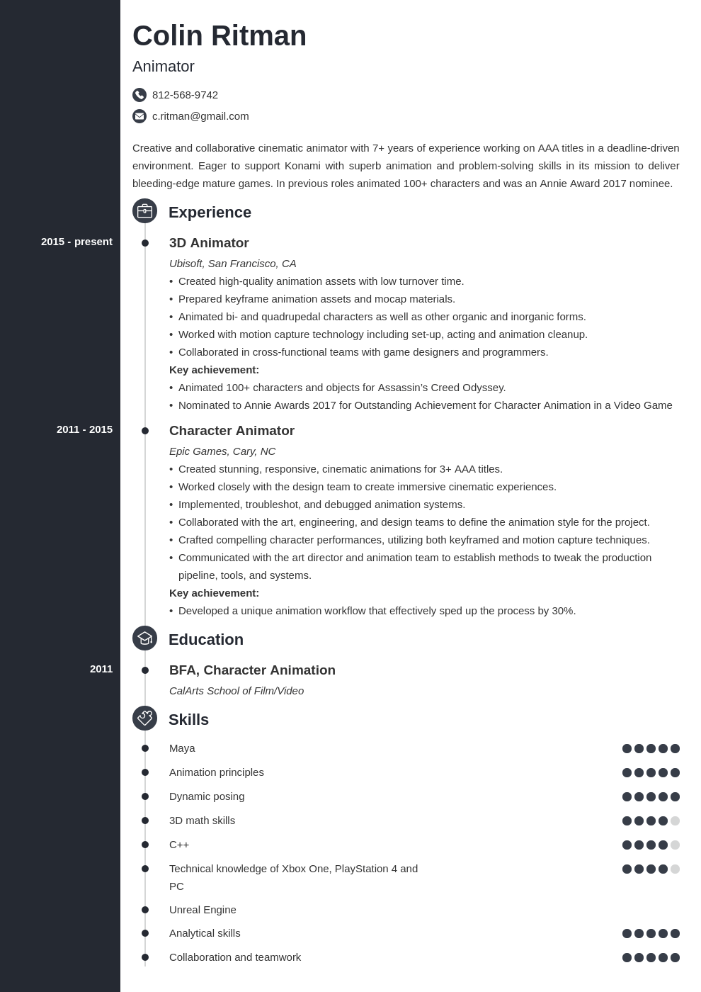 animator resume example template concept