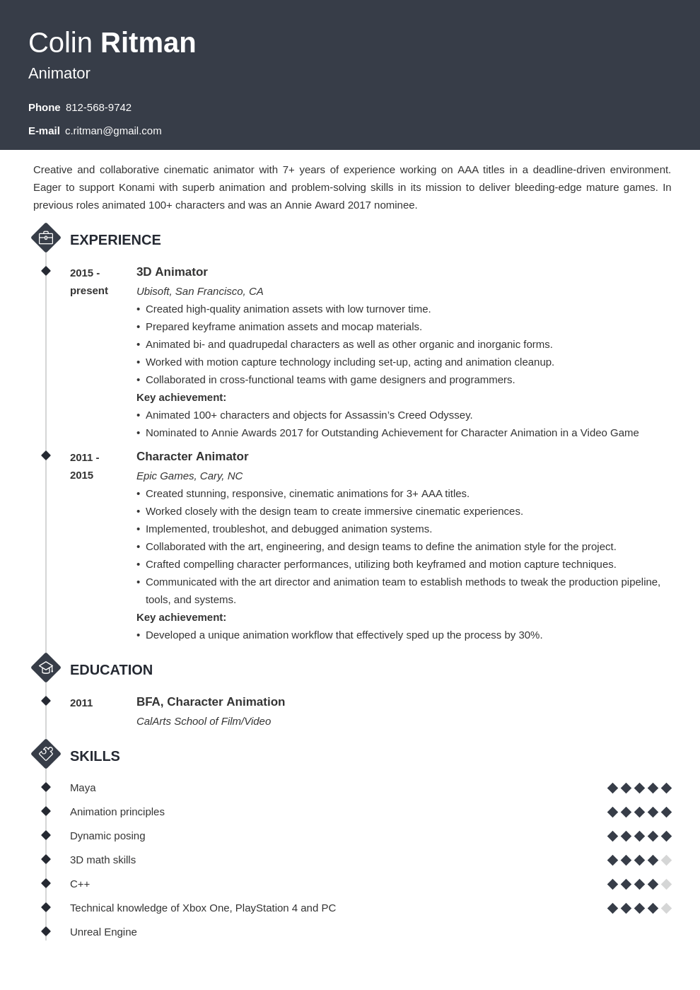 animator resume example template diamond