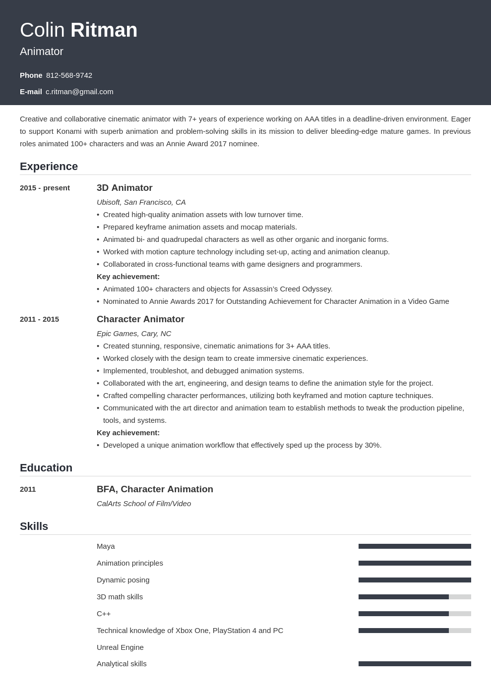 animator resume example template influx