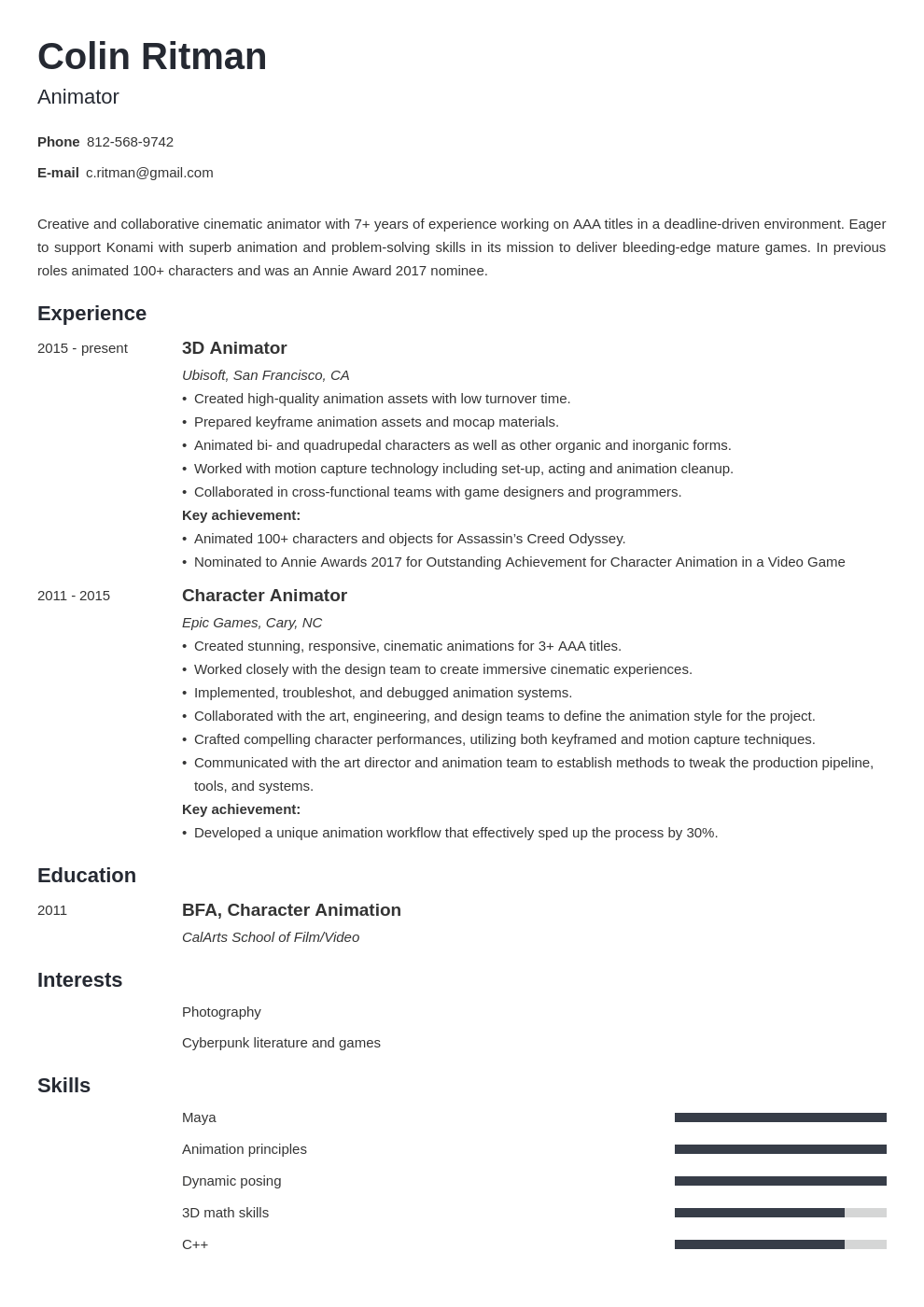 animator resume example template minimo