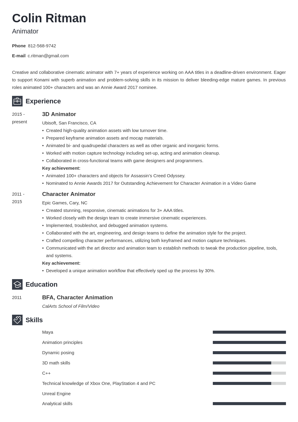 animator resume example template newcast