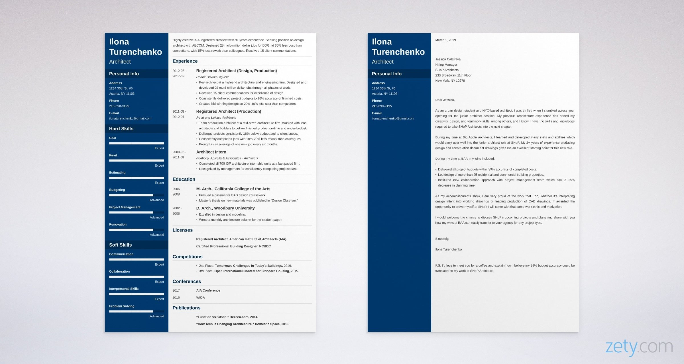 architecture resume and cover letter set