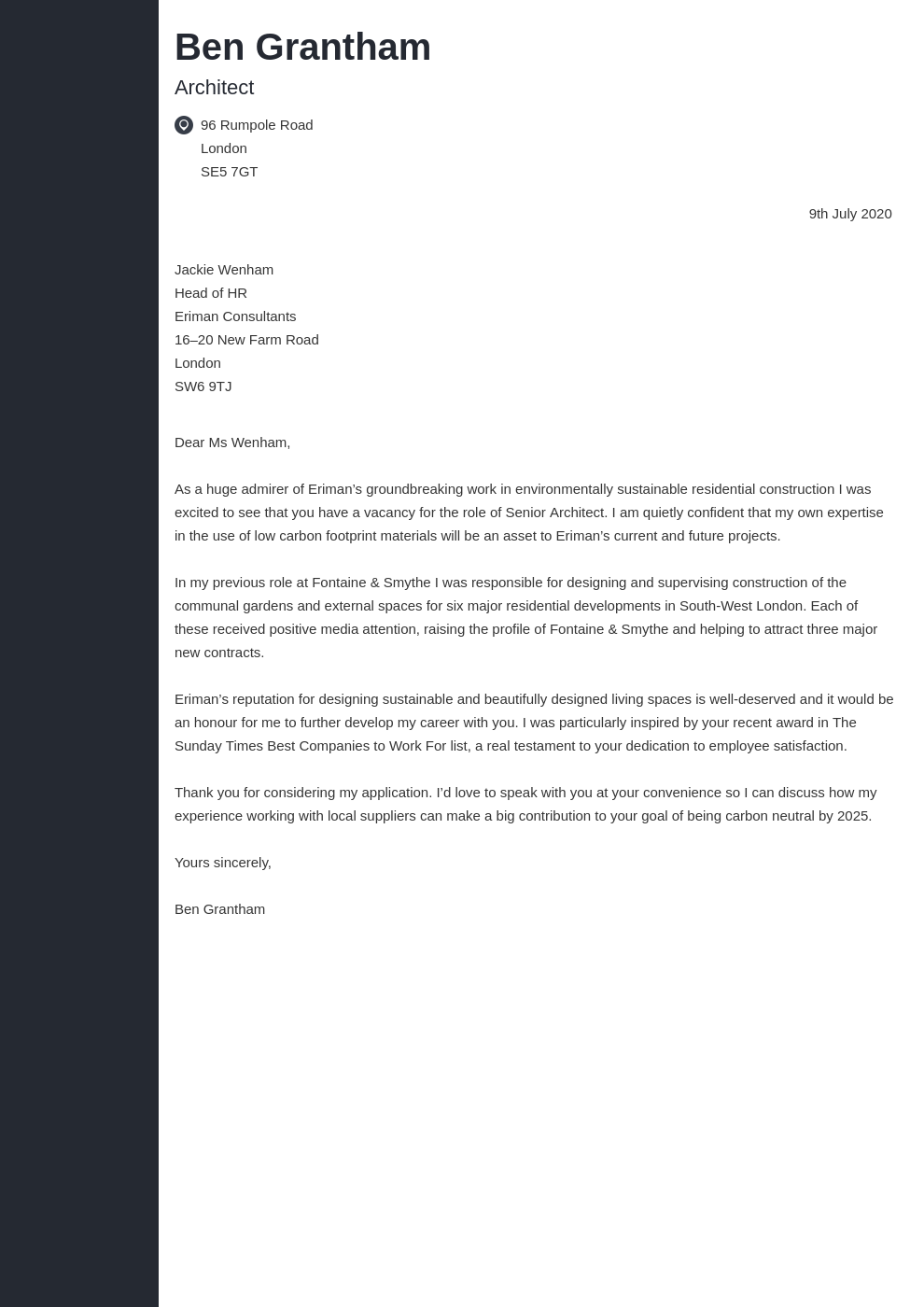 Architecture Cover Letter Examples Writing Guide