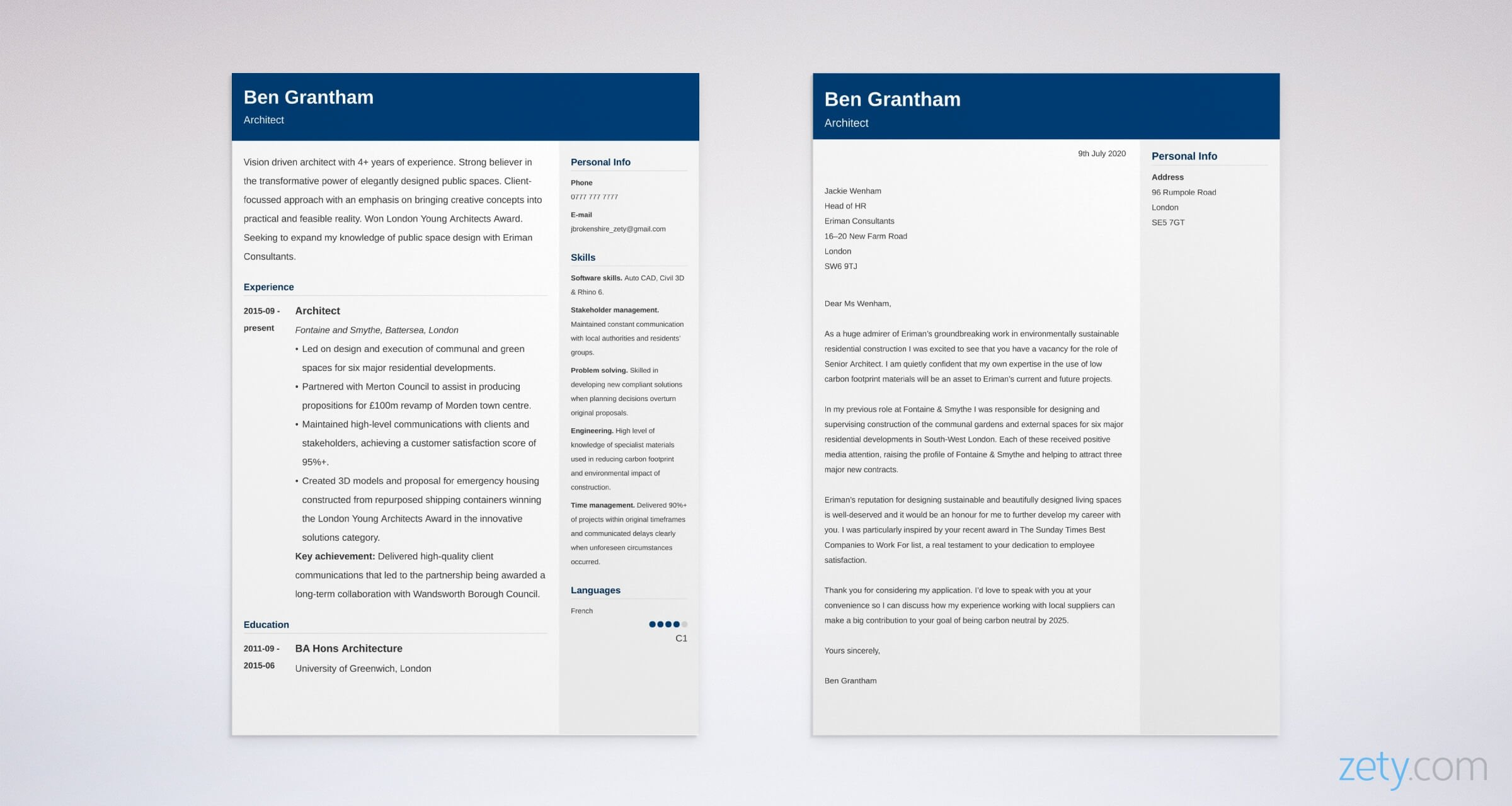architecture cv and cover letter set