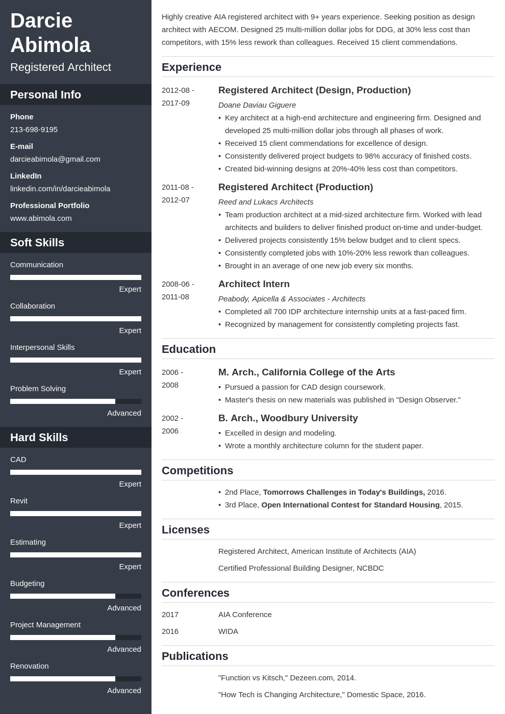 architecture resume example template cascade