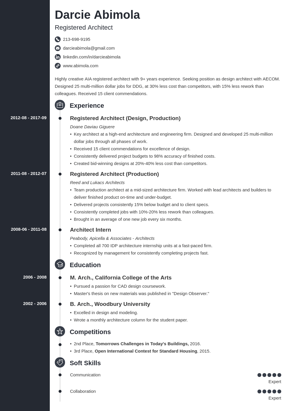 architecture resume example template concept