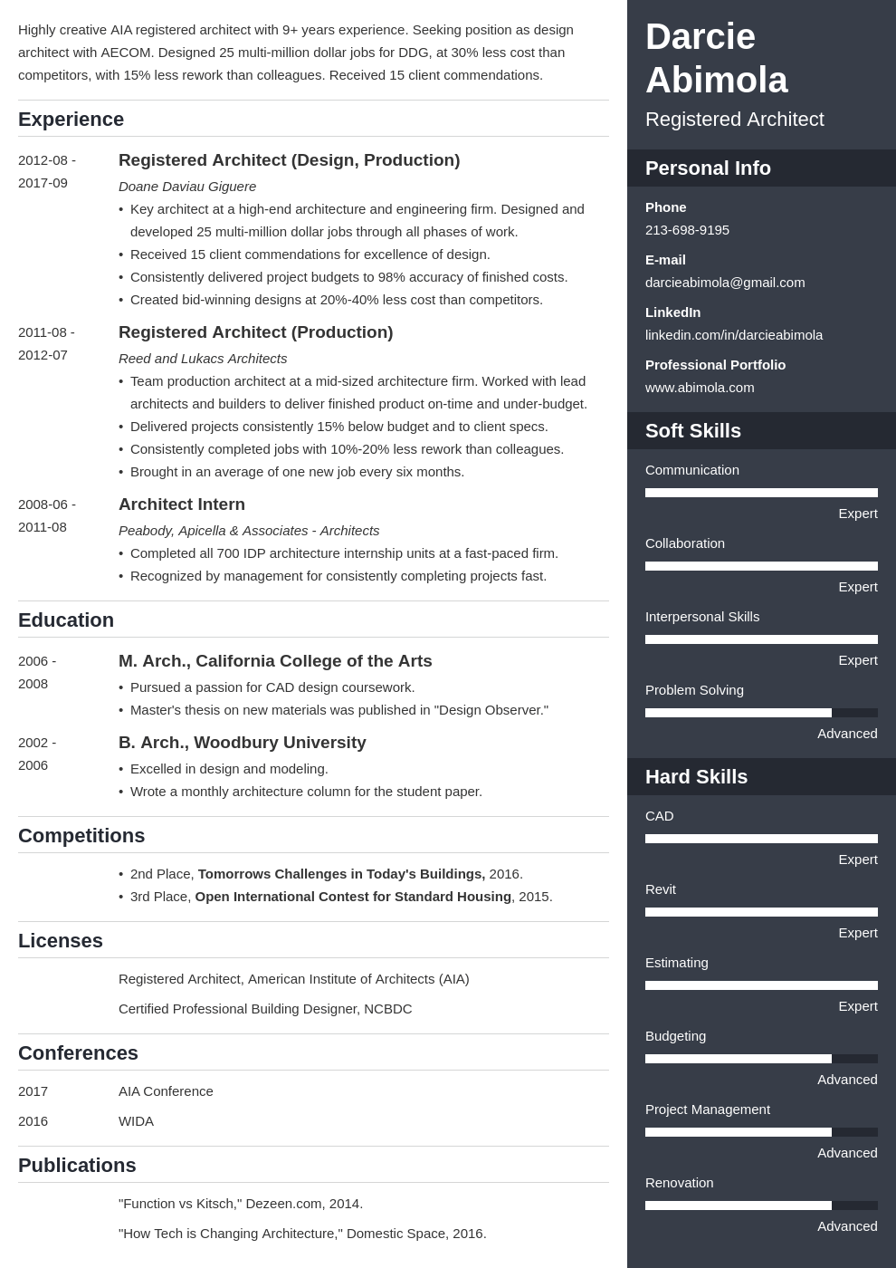 architecture resume example template enfold